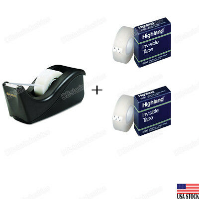 3M Scotch Value Desktop Tape Dispenser with 2 Highland 3/4'' Invisible Tapes Set