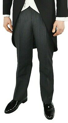 Men's Boys Black Striped Dinner Formal Morning Tails Wedding Prom Party Trousers
