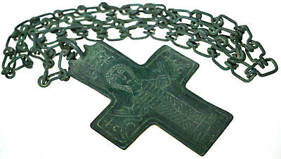Byzantine Bronze Christian Cross Pendant with Long Chain