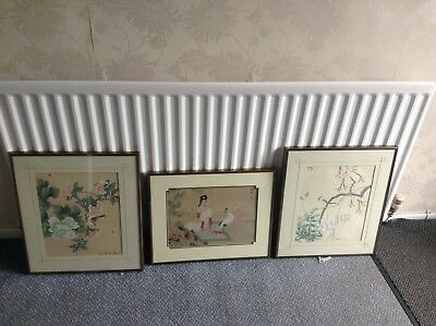 Chinese framed painting on silk - Three paintings