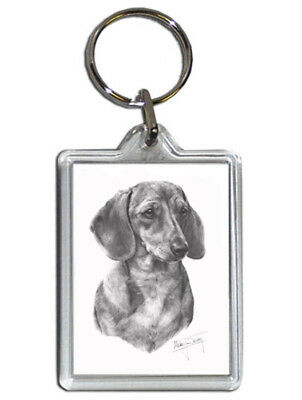 Mike Sibley Smooth Coat Dachshund Dog Quality Acrylic Keyring 50mmx35mm - Gift