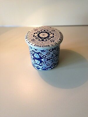 Vintage Delft Tin Metal Blue and White Dutch Canister Storage Tea - Holland