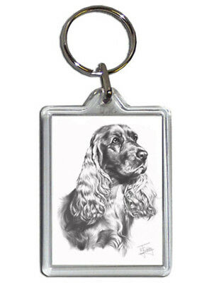 Mike Sibley Cocker Spaniel Quality Acrylic Keyring 50mm x 35mm - Dog Lover Gift