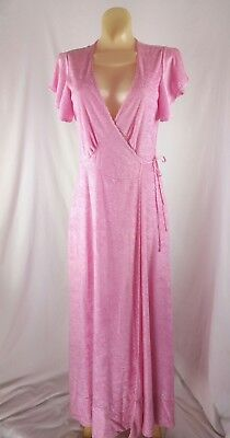 Vintage 80s Does 30s Pink Terry Cloth Long Maxi Wrap Robe House Dress Size S-XS