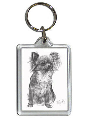 Mike Sibley Chihuahua Quality Acrylic Keyring 50mm x 35mm - Dog Lover Gift