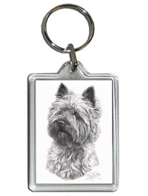 Mike Sibley Cairn Terrier Quality Acrylic Keyring 50 mm x 35 mm - Dog Lover Gift