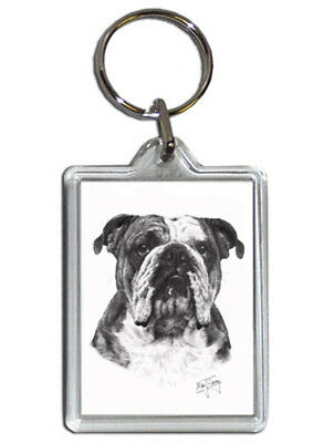Mike Sibley Bulldog Quality Acrylic Keyring 50 mm x 35 mm - Ideal Dog Lover Gift