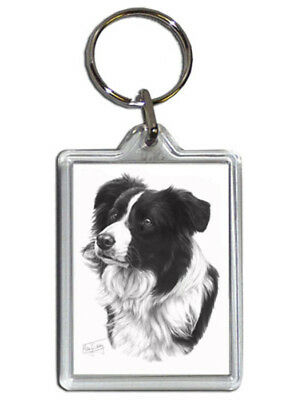 Mike Sibley Border Collie Quality Acrylic Keyring 50 mm x 35 mm - Dog Lover Gift