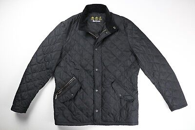 Barbour Mens Black Nylon Quilted Chelsea Jacket Size L Large $230