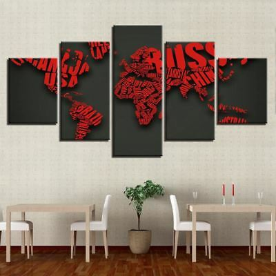 World Map Of Country Names 5 Panel Canvas Print Wall Art