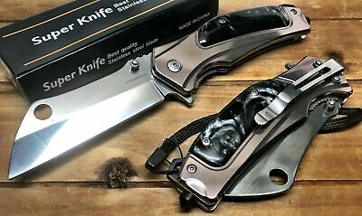 "8"" TACTICAL Spring Assisted Open Pocket Knife CLEAVER RAZOR FOLDING Blade MBG"