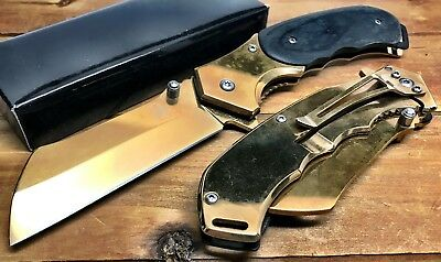 "8"" TACTICAL Spring Assisted Open Pocket Knife DAN CLEAVER RAZOR FOLDING Blade GD"
