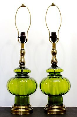 Pair Vintage Mid Century 3 Way Green Glass Table Lamps Mcm Hollywood