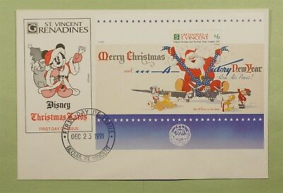 DR WHO 1991 FDC S/S DISNEY CHRISTMAS ST. VINCENT GRENADINES b02556