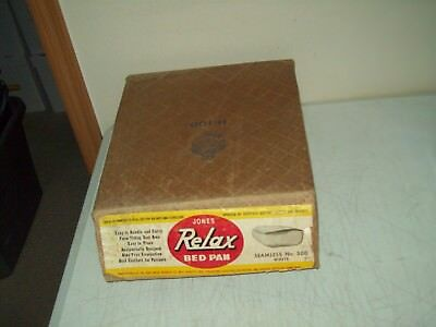 vintage Jones Relax bed pan no. 500 enamelware NEW OLD STOCK in the box
