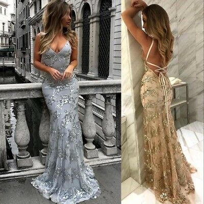 Long Evening Prom Dress Formal Party Ball Gown Celebrity Pageant Silver/Gold New