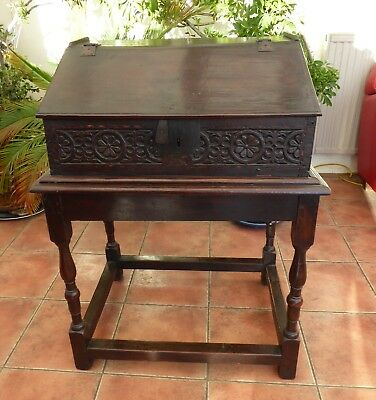 Country Oak Bible Box On Stand  Primitive Carving  1660 Free Shipping England
