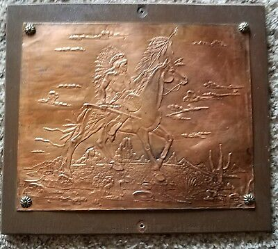 Mid-Century Native American Indian Chief Royalty Hammered Copper Picture on Wood