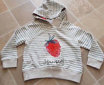 Next Toddler Girls Strawberry Stripped Hooded Jumper 3 Years BNWT RRP £15