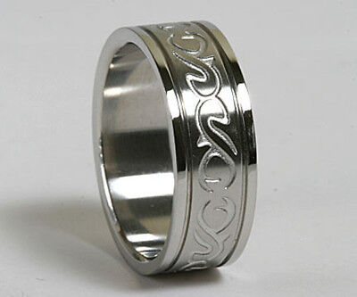 Men Women 316L Stainless Steel Tribal Wedding Ring Band 8mm Size 8 - 11 NEW SS37