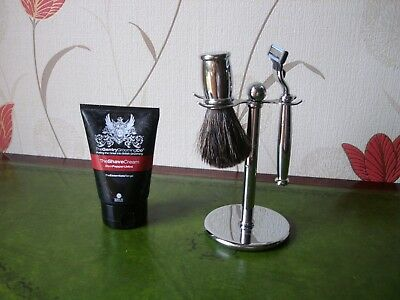 Gentry grooming co shaver, brush on stand with shave cream