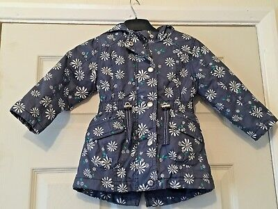 Girls F&F Blue White Floral Zip Up Hooded Summer Coat Jacket 18-24 Months B28