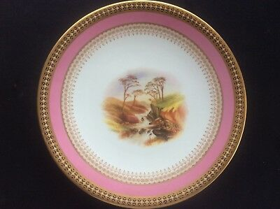 Antique c19th Royal Worcester Gilded Handpainted Waterfall Landscape Scene Plate