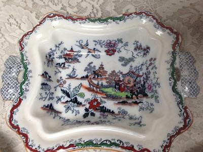 Antique, Ashworth Bros. England, Gaudy Blue Willow Serving Bowl 12.5inx9.5inx3in