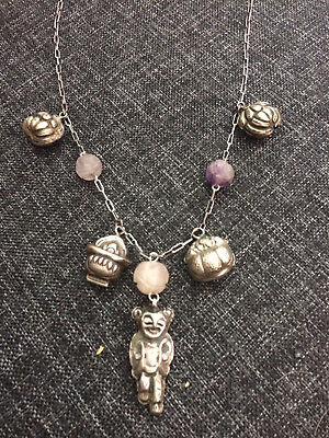 Antique Chinese Silver Necklace W/ Floral And Figural Charms Qing Dynasty