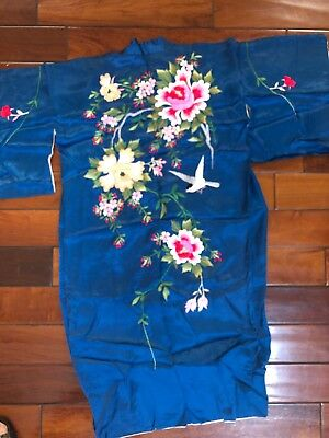 Vintage Chinese Hand Embroidered Lined Blue Silk Satin Floral Kimono Robe