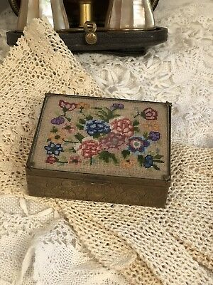 Vtg Antique Micro Petit Point Glass And Brass Trinket Box Wild Flowers