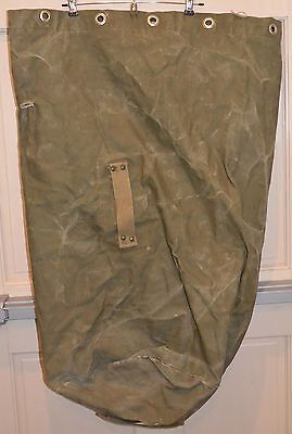 VINTAGE Boy Scouts BSA Olive Green Canvas Drawstring Duffel Bag NYC New York