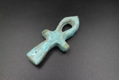 Rare Ancient Egyptian Faience Cross Ankh Amulet Figurine, 300 BC