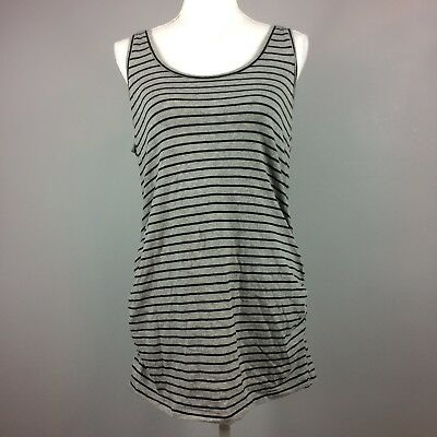 Motherhood Maternity Gray Black Striped Ruched Tank Top Womens Size Large Casual