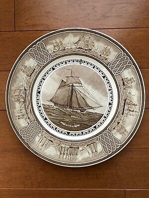 """Wedgwood Brown The American Sailing Ship UNION 10.5""""  Plate George C. Whales"""