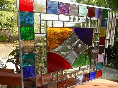 Multi colored stained glass panel window star with bevels