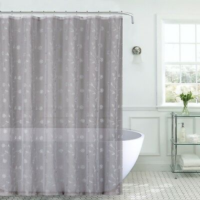 Decorative Sheer Fabric Shower Curtain: Gray Silver Embroidered Flowers