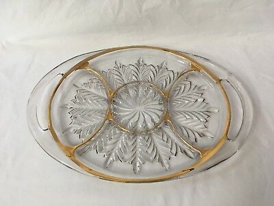 Jeannette Glass Feather Oval Divided Serving Tray Gold Trim Vintage
