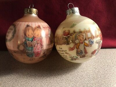 1989 & 1991 Hallmark Betsey Clark Glass Christmas Ornament Bulbs