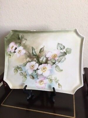 """ntique William Guerin Hand Painted Dresser Tray Poppies Gold Trim 9  3/4"""" x 7.5"""""""