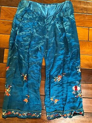 Vintage Chinese hand embroidered silk pajama bottoms or pants
