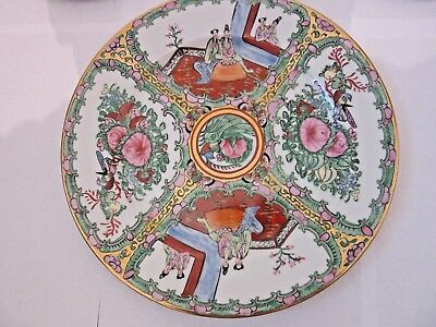 9 Pcs Vintage  Chinese  Famille  Rose Porcelain Plates Marked Two Dimensions