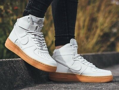 915da554e4b64 Nike AF1 Air Force 1 High White Leather Trainers Children Kids Boys Girls  Size 3