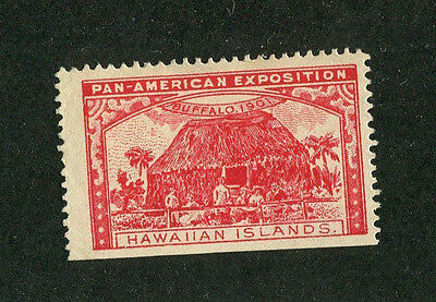 Vintage Poster Stamp PAN AMERICAN EXPOSITION Buffalo 1901 HAWAIIAN ISLANDS red