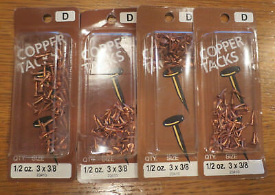 "Lot of Vintage Miniature Solid Copper Tacks Nails 3/8"" Sharp Point Round Head"