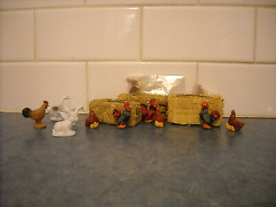 Lot Breyer Stablemate Chickens Real Hay Straw Bales Toy Farm Animal Doll House