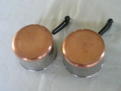 2 Vintage Revere Ware 1 Cup Measuring Cups Butter / Sauce Pans Copper Bottom