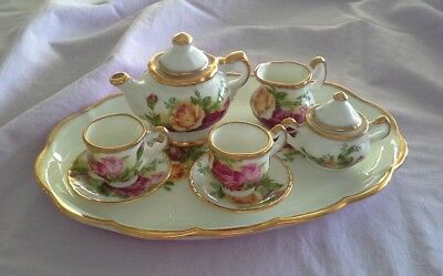 Vintage 1962 Miniature Royal Albert Old Country Roses Teaset