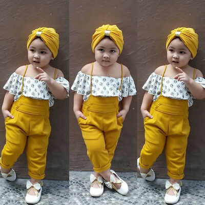 Flora Toddler Baby Girl Kids Off Shoulder Tops+Long Leggings Summer Clothes Set