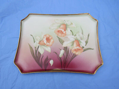 Antique Bavarian Daffodil Porcelain H. P. Tray; AS IS